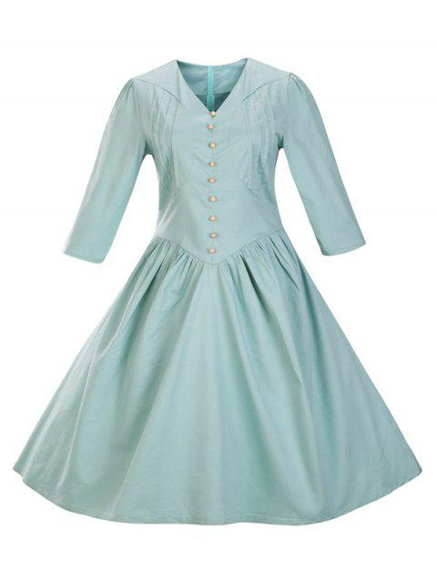 Retro Front Button Flare Tea Length Swing Party Dress - LIGHT BLUE 3XL