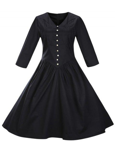 Retro Front Button Flare Tea Length Swing Party Dress - BLACK XL