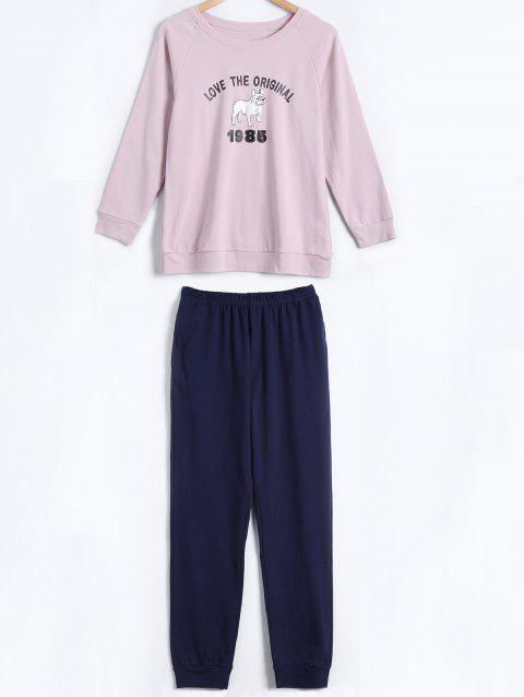 Dog and Letter Print Cotton Pajamas Set - PINK L
