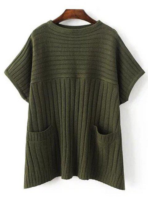 Crew Neck Ribbed Batwing Sweater With Pocket - ARMY GREEN ONE SIZE
