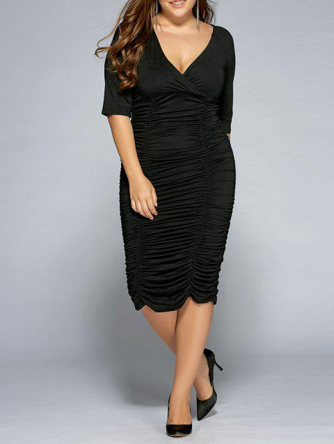 41% OFF] 2019 Plus Size Surplice Ruched Dress In BLACK 2XL ...