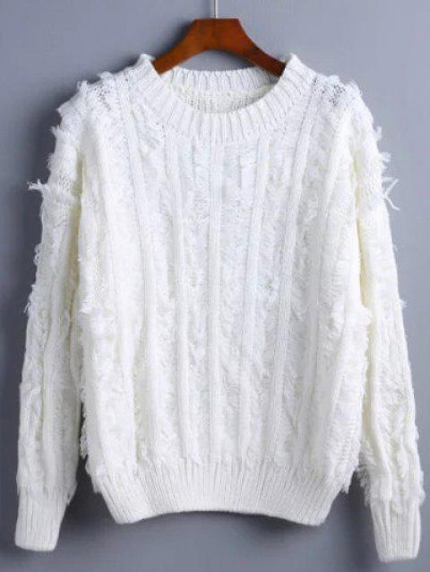 Fuzzy Pullover Sweater - WHITE ONE SIZE