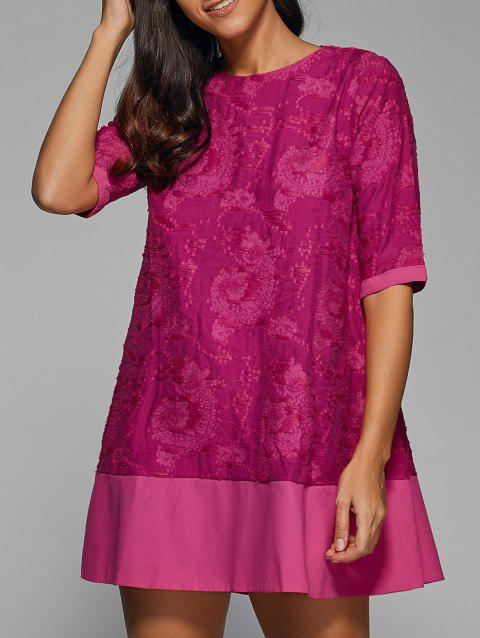 1/2 Sleeve Embroidery Dress - ROSE MADDER XL