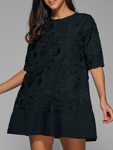 1/2 Sleeve Embroidery Dress - BLACK L
