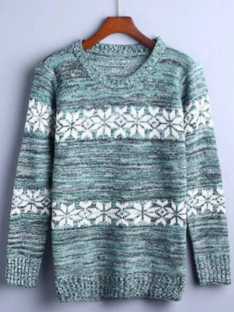 Flower Jacquard Pullover Sweater - TURQUOISE ONE SIZE