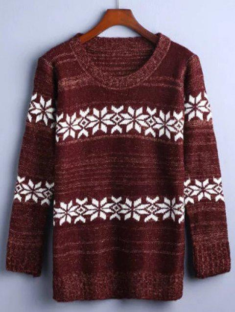 Flower Jacquard Pullover Sweater - DARK RED ONE SIZE