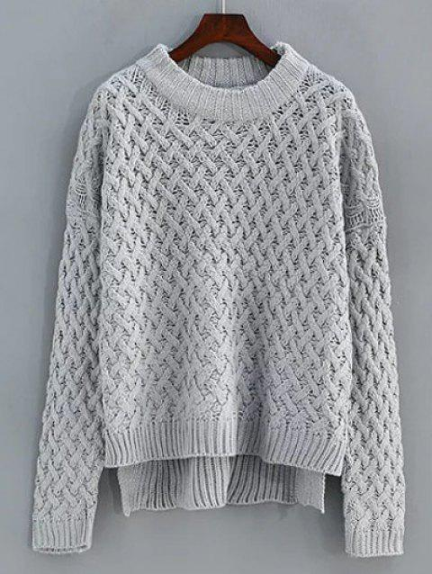 Cable Knit High Low Sweater - GRAY ONE SIZE