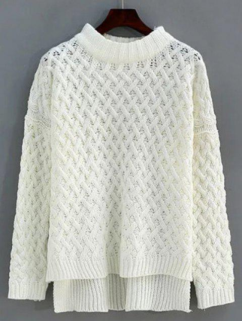 Cable Knit High Low Sweater - WHITE ONE SIZE
