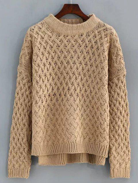 Cable Knit High Low Sweater - EARTHY ONE SIZE