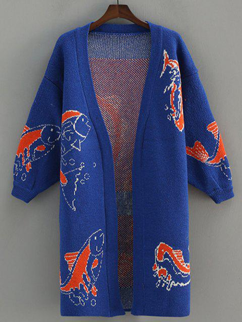 Fish Pattern Jacquard Cardigan - BLUE ONE SIZE