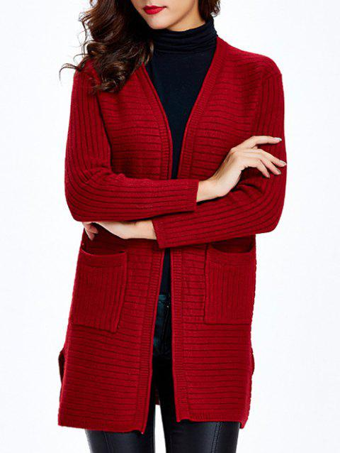 Slit Pocket Knitted Cardigan - RED ONE SIZE