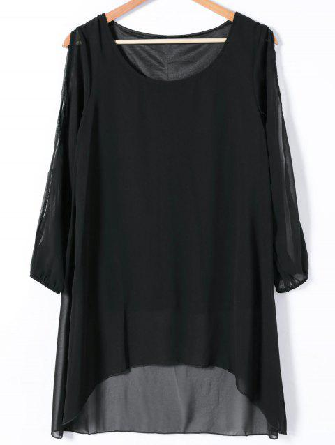 Slit Sleeve Asymmetrical Plain Chiffon Dress - BLACK S