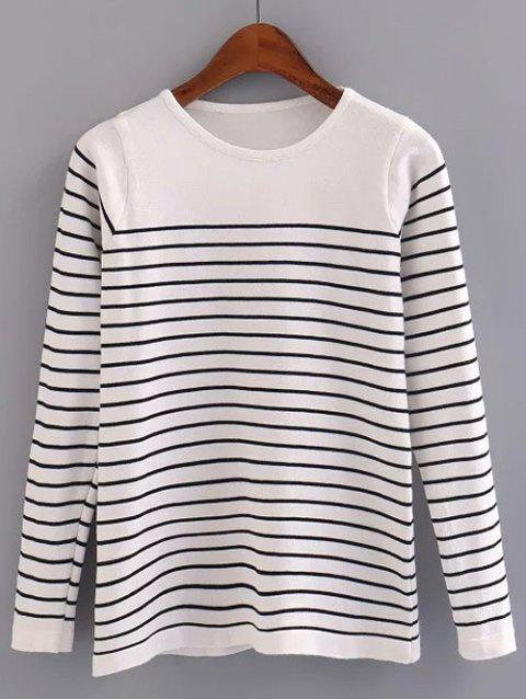 Stripe Pattern Pullover Sweater - WHITE ONE SIZE