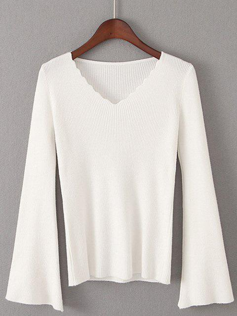 Flare Sleeve Pullover Sweater - WHITE ONE SIZE