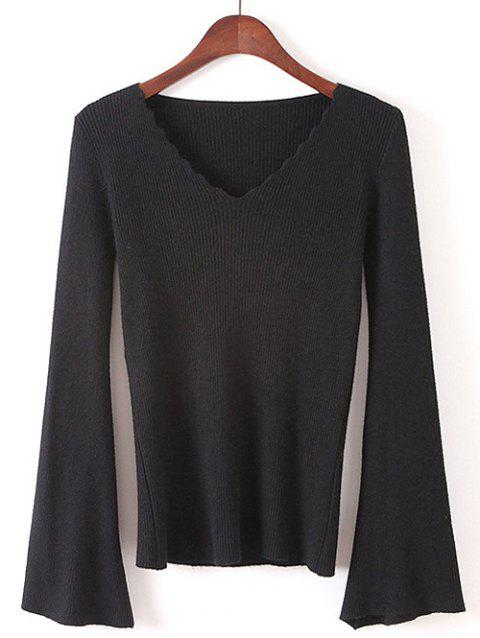 Flare Sleeve Pullover Sweater - BLACK ONE SIZE