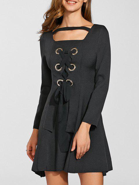Invisible zippé Lace Up Dress - Noir M