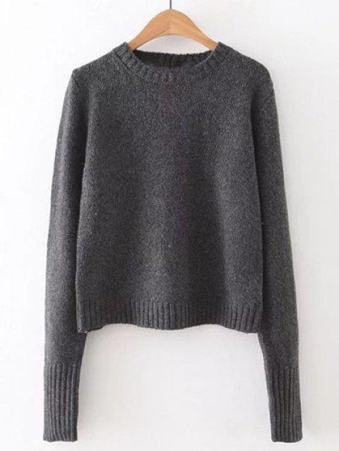 Backless Lace Up Pullover Sweater - DEEP GRAY ONE SIZE