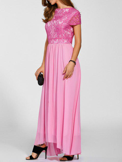 Maxi Lace Top Chiffon Prom Robe formelle - Rouge Rose S