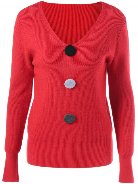 V Neck Ribbed Button Embellished Sweater - RED ONE SIZE