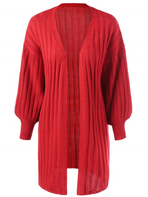 Batwing Sleeve Longline Ribbed Cardigan - RED ONE SIZE