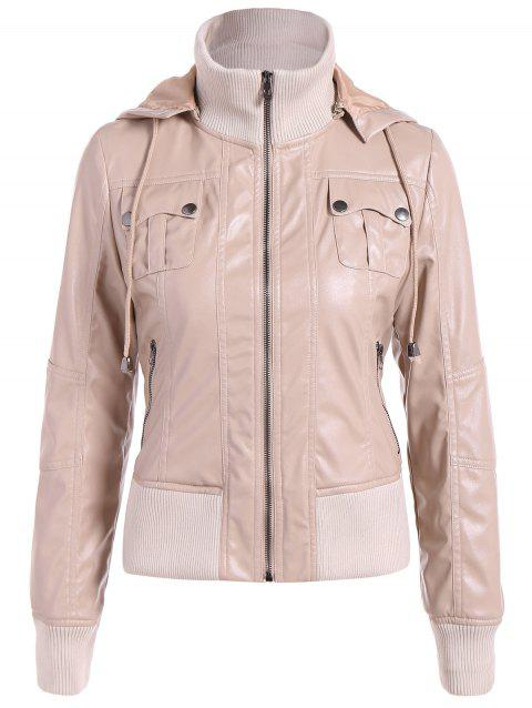 Chaud Drawstring Pocket capuche PU Biker Jacket - Abricot 2XL