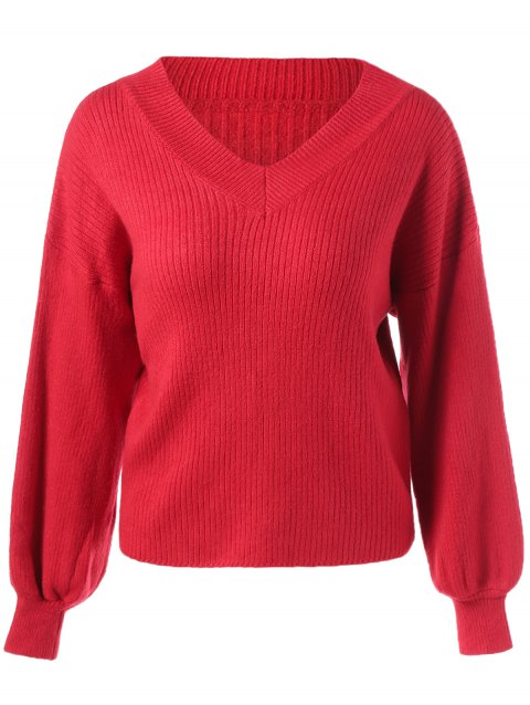 Chunky Ribbed Sweater - RED ONE SIZE