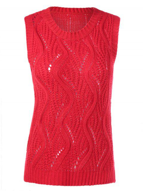 Sleeveless Openwork Ribbed Knitwear - RED ONE SIZE