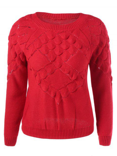 Scalloped Textured Knit Sweater - RED ONE SIZE