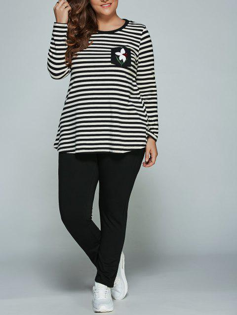 Plus Size Long Sleeve Striped Outfits - BLACK L