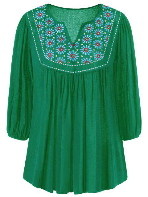 Floral Embroidered Maxican Peasant Blouse - GREEN S