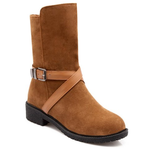 Cross-Strap Buckle Suede Mid-Calf Boots - BROWN 39