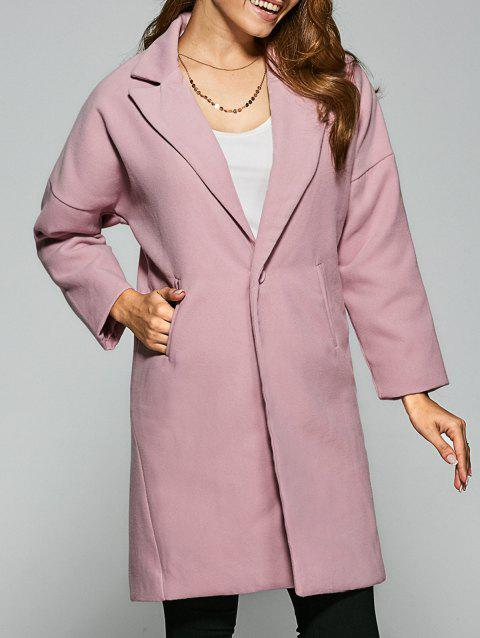 Manteau à Simple Boutonnage à Goutte Epaule à Col Revers - Rose 2XL