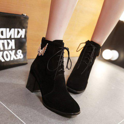 Chunky Heel Metallic Suede Lace Up Ankle Boots - BLACK 38
