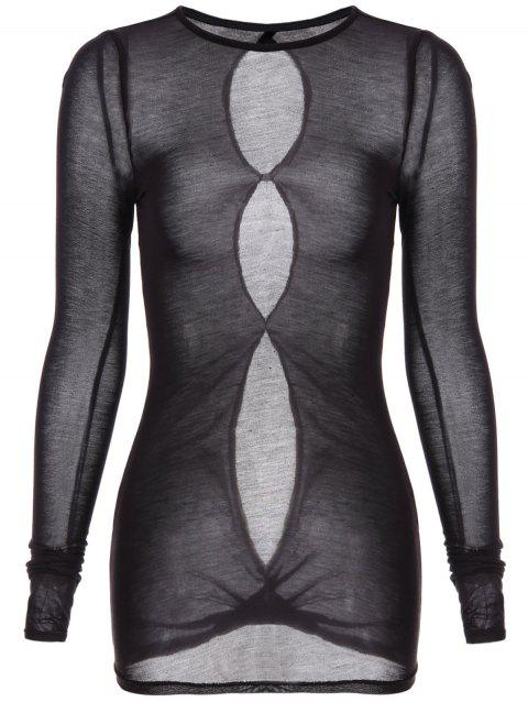 Round Neck Long Sleeve See-Through T-Shirt - BLACK S