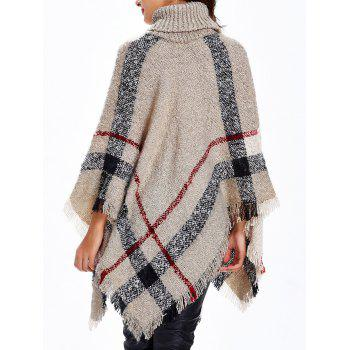 Turtleneck Fringed Knitted Cape - APRICOT APRICOT