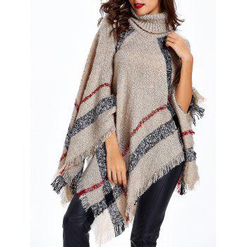 Turtleneck Fringed Knitted Cape