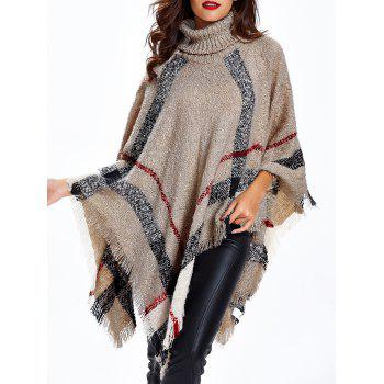 Turtleneck Fringed Knitted Cape - APRICOT ONE SIZE