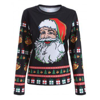 Cute Long Sleeve 3D Santa Claus Print Christmas T-Shirt