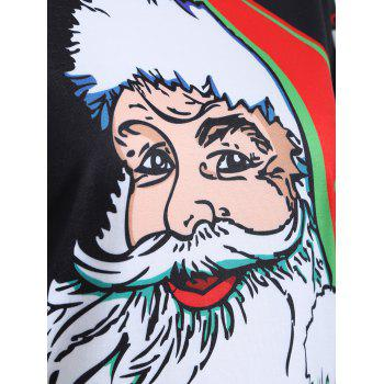 Cute Long Sleeve 3D Santa Claus Print Christmas T-Shirt - BLACK M