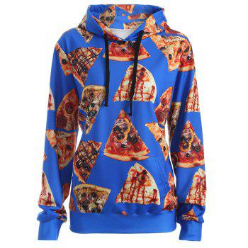 Pullover Pizza 3D Print Hoodie - BLUE BLUE