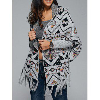 Geometrical Fringed Knit Cape - GRAY GRAY