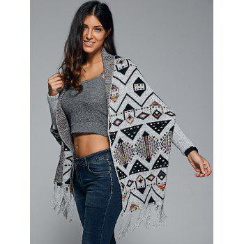 Geometrical Fringed Knit Cape - GRAY ONE SIZE