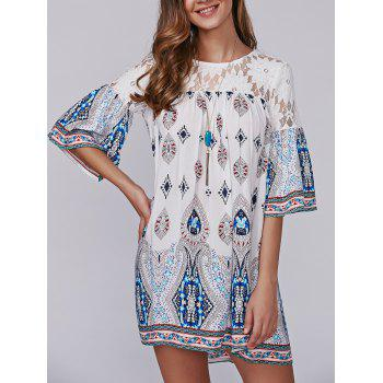 Openwork Tribal Print Lace Spliced Smock Dress