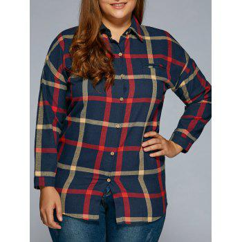 Plus Size Flannel Plaid Shirt