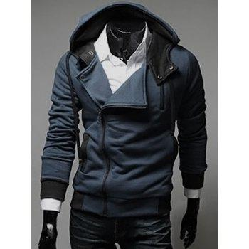 Street Style Side Zipper Long Sleeves Polyester Hoodies For Men - DEEP BLUE DEEP BLUE