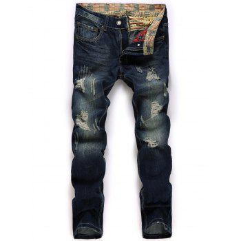 Broken Hole Design Zipper Fly Jeans
