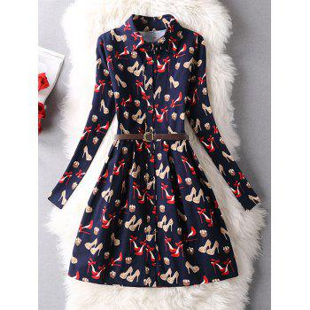 High-Heels Shoes Print Shirt Dress