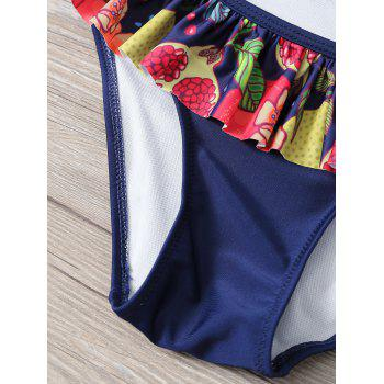 Halter Neck Tropical Print Overlay Bikini - PURPLISH BLUE L