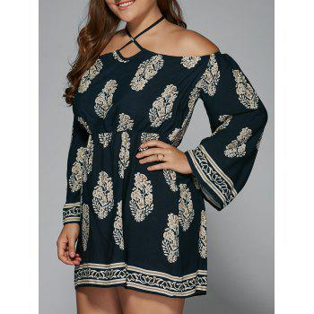Plus Size Club Printed Halter Flare Sleeve Dress