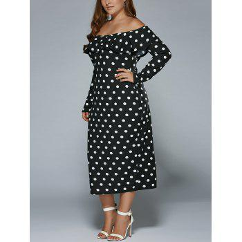 Off-The-Shoulder Polka Dot Vintage Dress